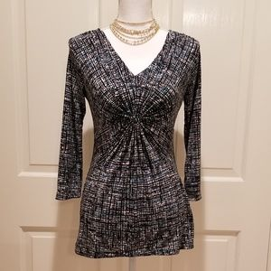 Black Career Blouse w Gathered Front Daisy Fuentes